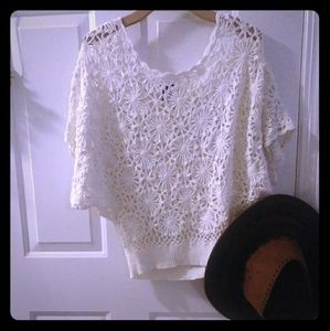 Crochet White Boho Top Floral Hippy